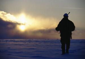 På jagt i sne